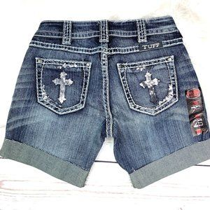 👖NWT🤩 |•COWGIRL TUFF•| Crosses Shimmer Shorts👖